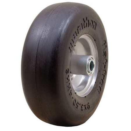 "Marathon Industries 01014 9 x 3.50-4"" Smooth Tread Flat Free Lawn Mower Tire"