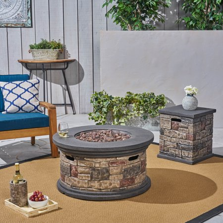 Keegan Outdoor 32 Inch Light Weight Concrete Round Fire Pit and Tank Holder, Mixed Brown ()