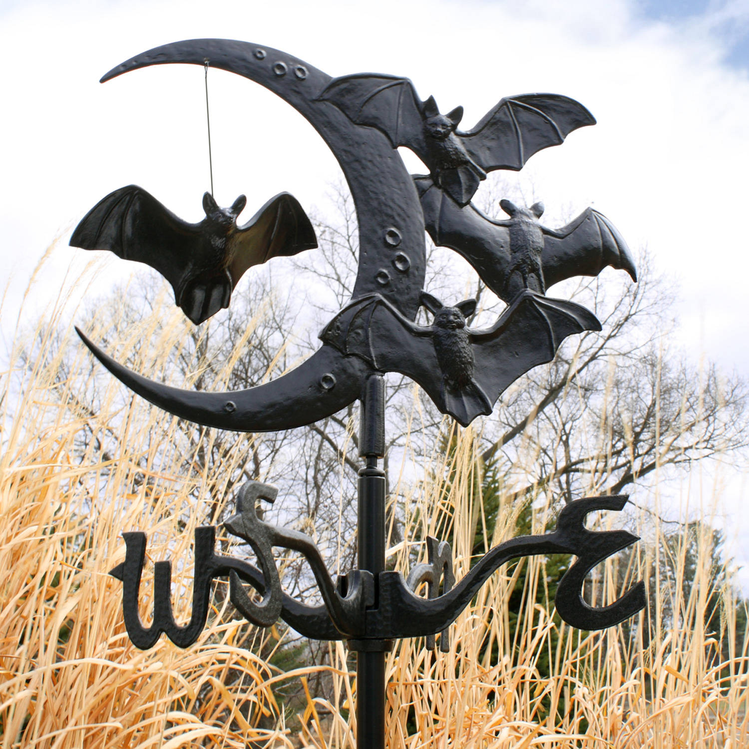 Halloween Bat Garden Weathervane, Black