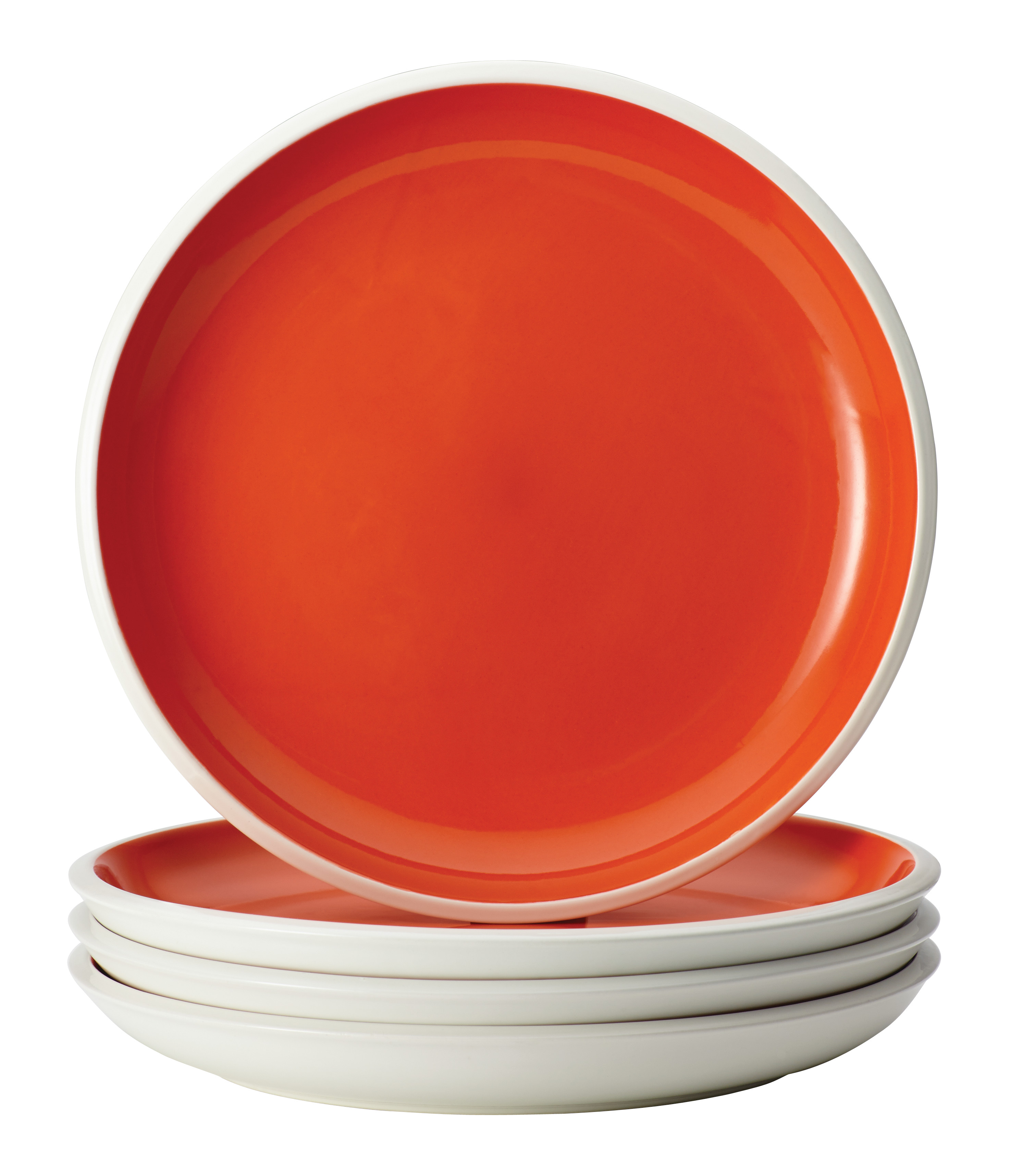 Rachael Ray Dinnerware Rise 4-Piece Stoneware Dinner Plate Set, Orange