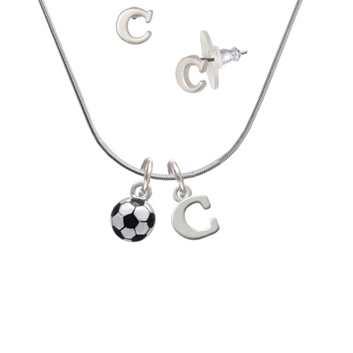 3-D Soccer ball - C Initial Charm Necklace and Stud Earrings Jewelry Set