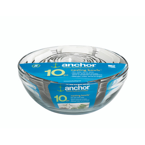 Anchor Hocking 10 Piece Mixing Bowl Set by