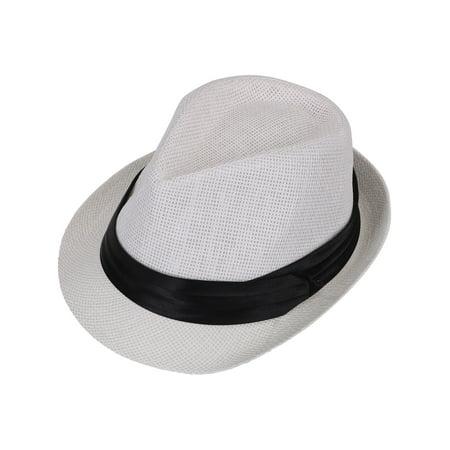 eeb7de56f3a2d4 Women Men Summer Double Colors Straw Fedora Hat w/ Rasta Band, White, LXL -  Walmart.com
