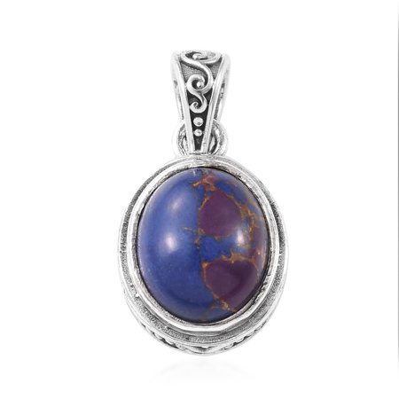 Pendant Necklace Handmade 925 Sterling Silver Oval Purple Turquoise Gift Jewelry for Women