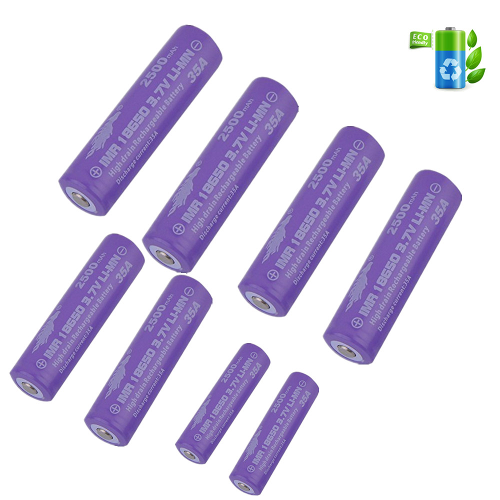 8PCS 3.7V 2500mAH Li-ion Rechargeable 18650 Battery For Flashlight Torch 35A 18650 Battery