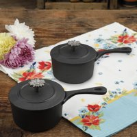The Pioneer Woman Timeless Beauty Pre-Seasoned Plus .36-Quart Cast Iron Mini Sauce Pans, Set of 2