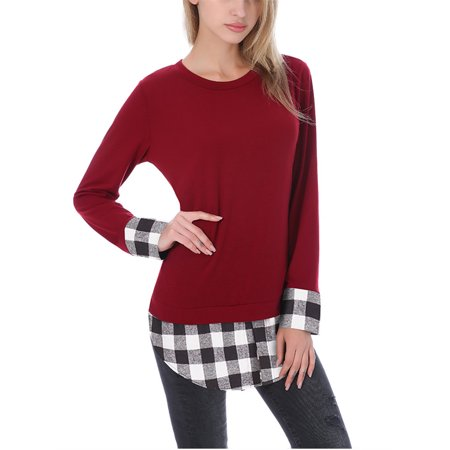 Violet Plaid Shirt - Long Sleeved Plaid Patchwork Women Casual T-shirts