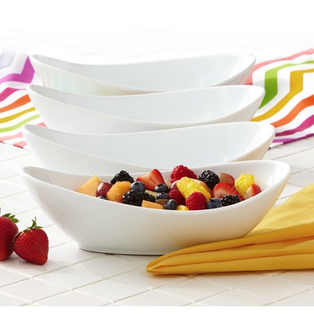 Better Homes & Gardens Oval Serving Bowls, White, Set of 4 - Halloween Entertaining Serveware