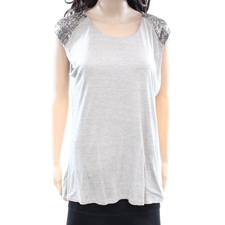 Lauren By Ralph Lauren NEW Gray Womens Size Large L Embellished Blouse