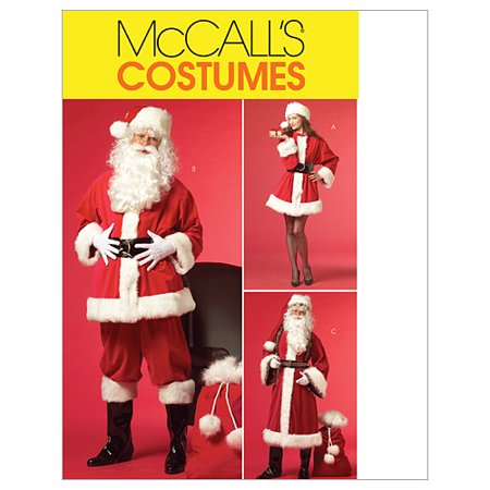 McCall's Misses' and Men's Santa Costumes and Bag, XN (XL, XXL, XXXL)