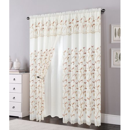 "Set of 2 Lucia Embroidered Curtains with Attached Valance and Backing, 84"" Long, Beige"