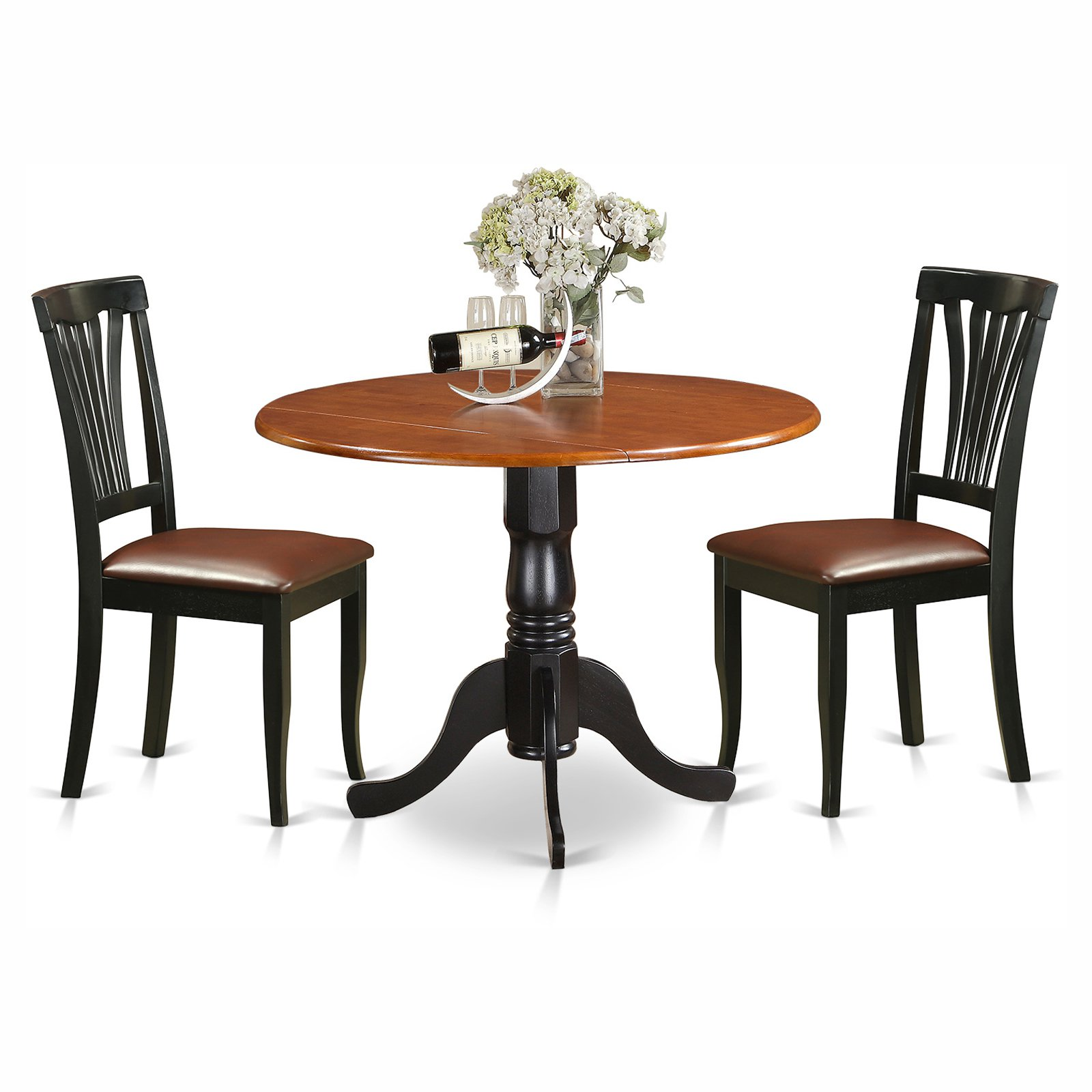 East West Furniture Dublin 3 Piece Round Dining Table Set with Faux Leather Avon Chairs