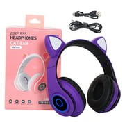 freestylehome Bluetooth 5.0 Headphone LED Flashing Light Headset Adorable Wireless Rechargeable Gaming Microphone Earphone, Purple