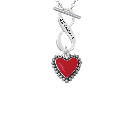 Red Heart with Beaded Border Grandma Infinity Toggle Chain Necklace