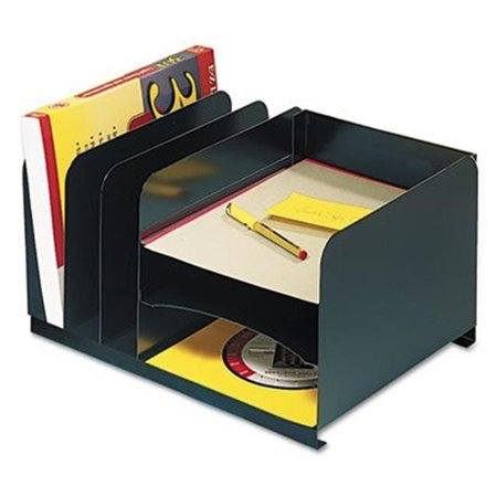 Horizontal Combo Organizer - MMF Industries Letter-Size Steel Vertical/Horizontal Combination Desk Organizer, Black (26420HV004)