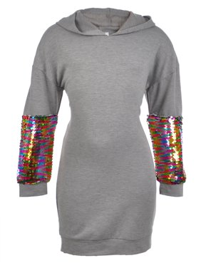 Beautees Rainbow Sequin Hoodie Sweatshirt Dress with Fanny Pack (Big Girls)