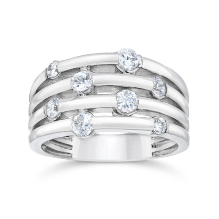 14K White Gold 1ct Real Diamond Right Hand Ring Fashion Journey Round Solitaire Contemporary Right Hand Ring