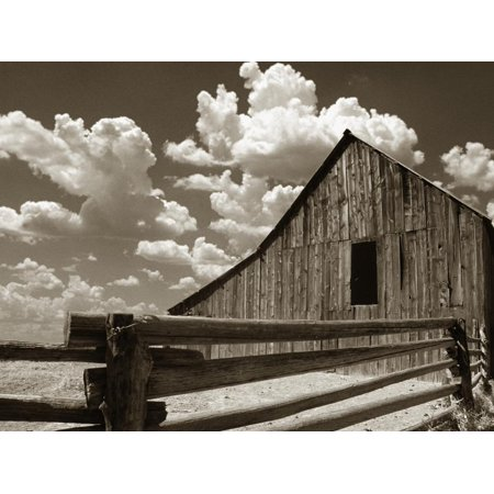 Fence and Barn Country Architecture Sepia Photography Print Wall Art By Aaron Horowitz