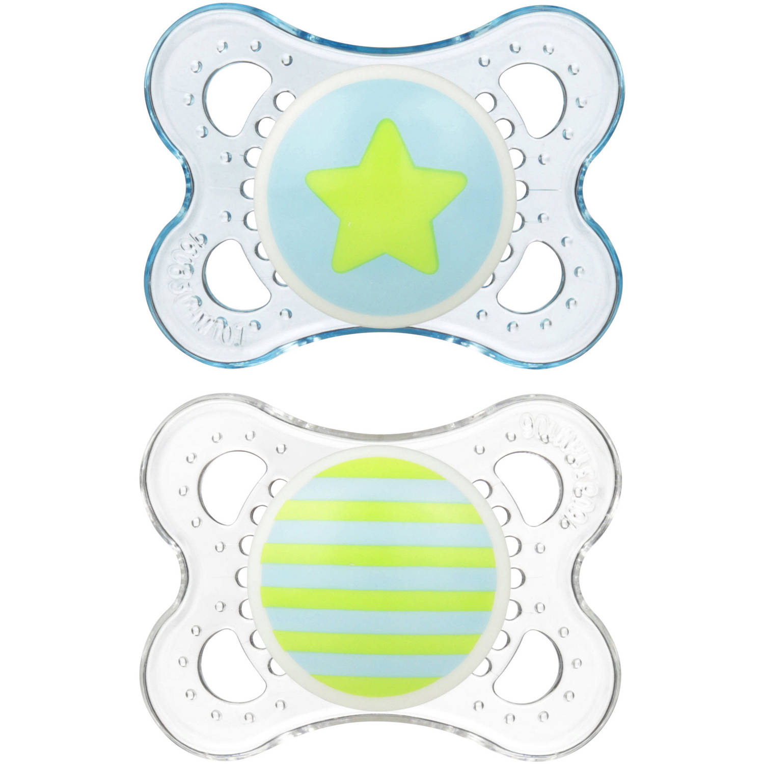MAM Clear Orthodontic Pacifier, 0-6 Months, 2 Pacifiers, Boy by MAM