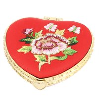 Silk Embroidery Heart Shape Folding Portable Pocket Makeup Cosmetic Mirror Red
