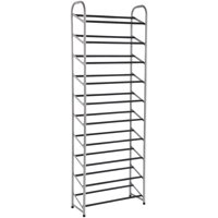 Mainstays 10-Tier Narrow Shoe Rack, Powder Coated, Black+Silver