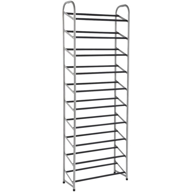 Mainstays 10 Tier Narrow Shoe Rack Powder Coated Black Silver Walmart Com Walmart Com