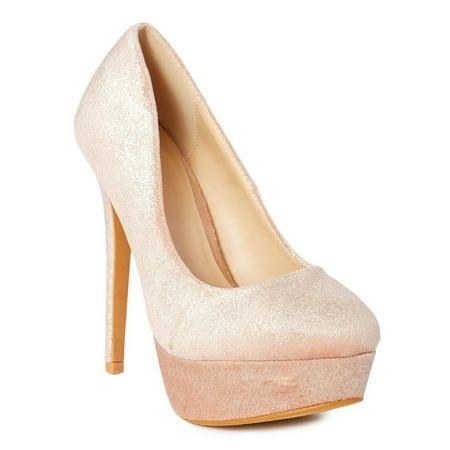 Ranee Adult Blush Shimmery Platform Stiletto Heel Stylish Pumps