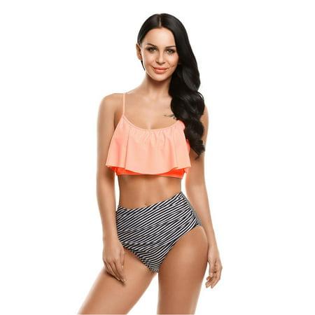 31024e1888 StylesILove - Womens Trendy Plus Size Lattice Flounce Bikini Set Fashion  Flounce One-Piece Swimsuit (Pink Ruffles/Strips, S) - Walmart.com