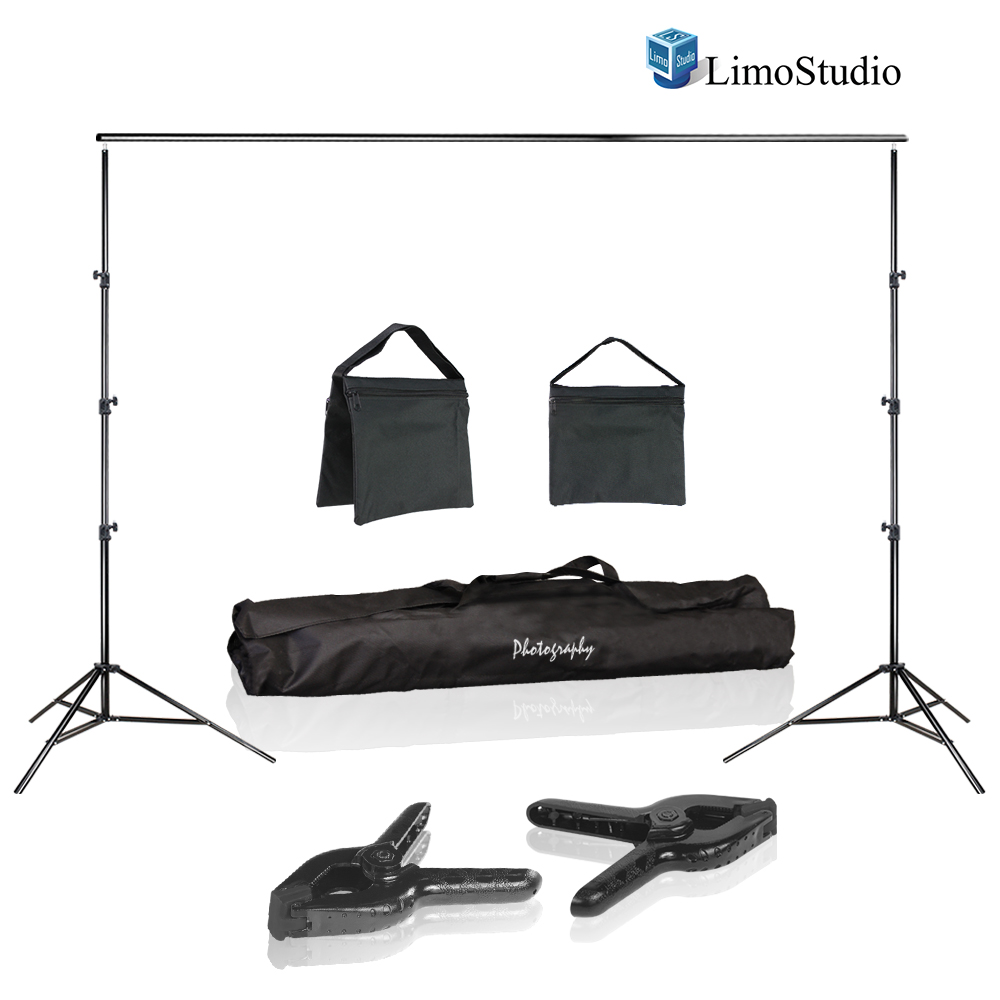LimoStudio Photo Video Studio 10 ft. Width Adjustable Background Stand Backdrop Support Structure System Kit with Photo Clamp and Sand Bag, Photography Studio, LIWA126