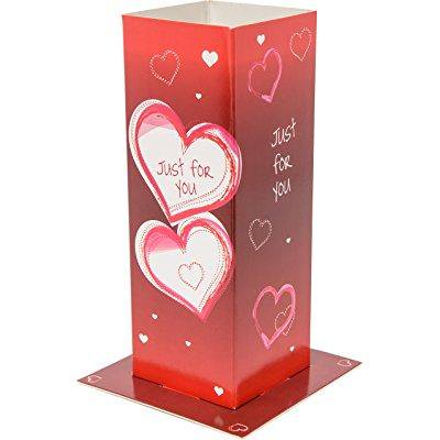 Blooming Greetings Card Vase, Double Hearts, Multicolor