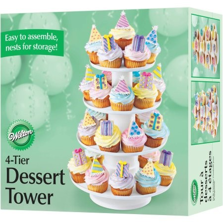 Wilton 4-Tier Cupcake and Dessert Tower, White, 1 Ct