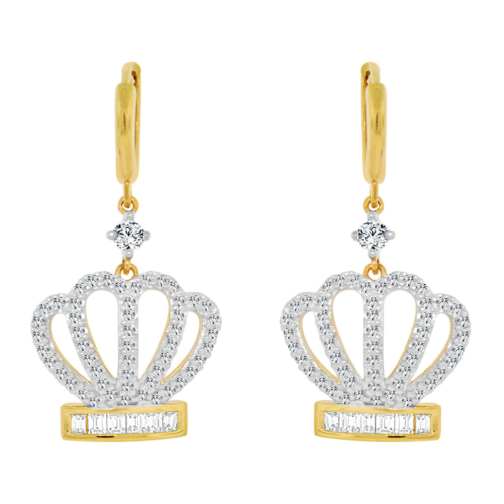 Tiara Crown Earring Created CZ Crystals 14k Yellow Gold