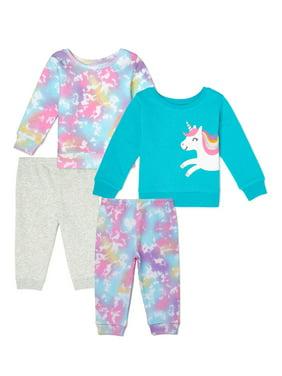 Garanimals Baby Girl Sweatshirt & Sweatpants Outfit Set Multi Pack, 4-Piece