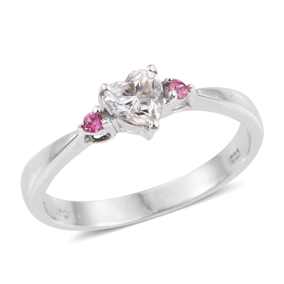 Moissanite, Pink Spinel Platinum Plated Silver Heart Ring by Shop LC