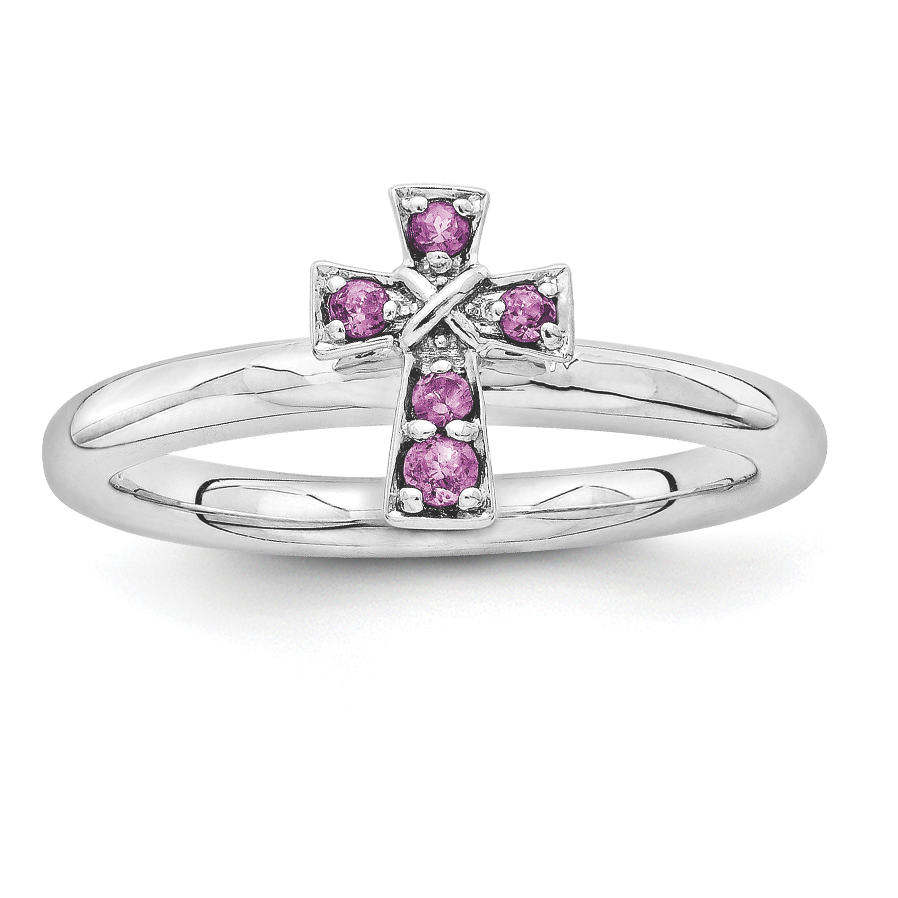 Sterling Silver Stackable Expressions Rhodium Rhodolite Garnet Cross Ring Size 6 - image 1 de 3