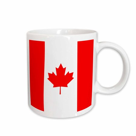 3dRose Flag of Canada - Canadian red maple leaf with red stripes and white l