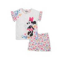 Disney Minnie Mouse Girls 4-12 Exclusive Short Sleeve Tee & Matching Short Pajama Set