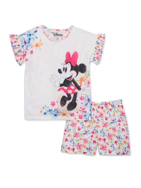 Disney Minnie Mouse Girls 4-12 Exclusive Short Sleeve Tee & Matching Short Pajama Set