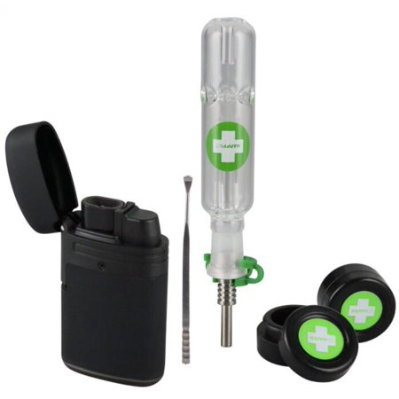 The Happy Dab Kit - All in One Dab Kit - Smell Proof, break proof Includes Nectar Collector, 2 wax containers, Dab Tool and Torch lighter. Amazing 710, 420 gift, Starter Kit