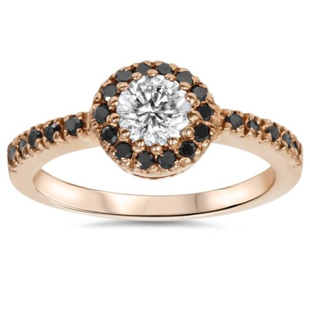 7/8ct Treated Black & White  Diamond Halo Engagment Ring Solid 14K Rose Gold - image 4 de 4