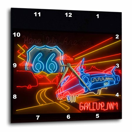 3Drose Route 66 Neon Sign   Gallup Chamber Of Commerce   Us32 Tdr0060   Trish Drury  Wall Clock  15 By 15 Inch