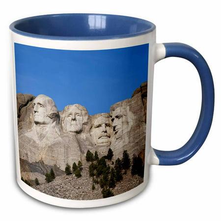 3dRose USA, South Dakota, Black Hills, Mount Rushmore National Memorial. - Two Tone Blue Mug, 15-ounce