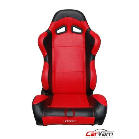 Auto  Full Carbon Fiber PU  Auto Racing Seats, Black & Red - Pair Racing Carbon Fiber
