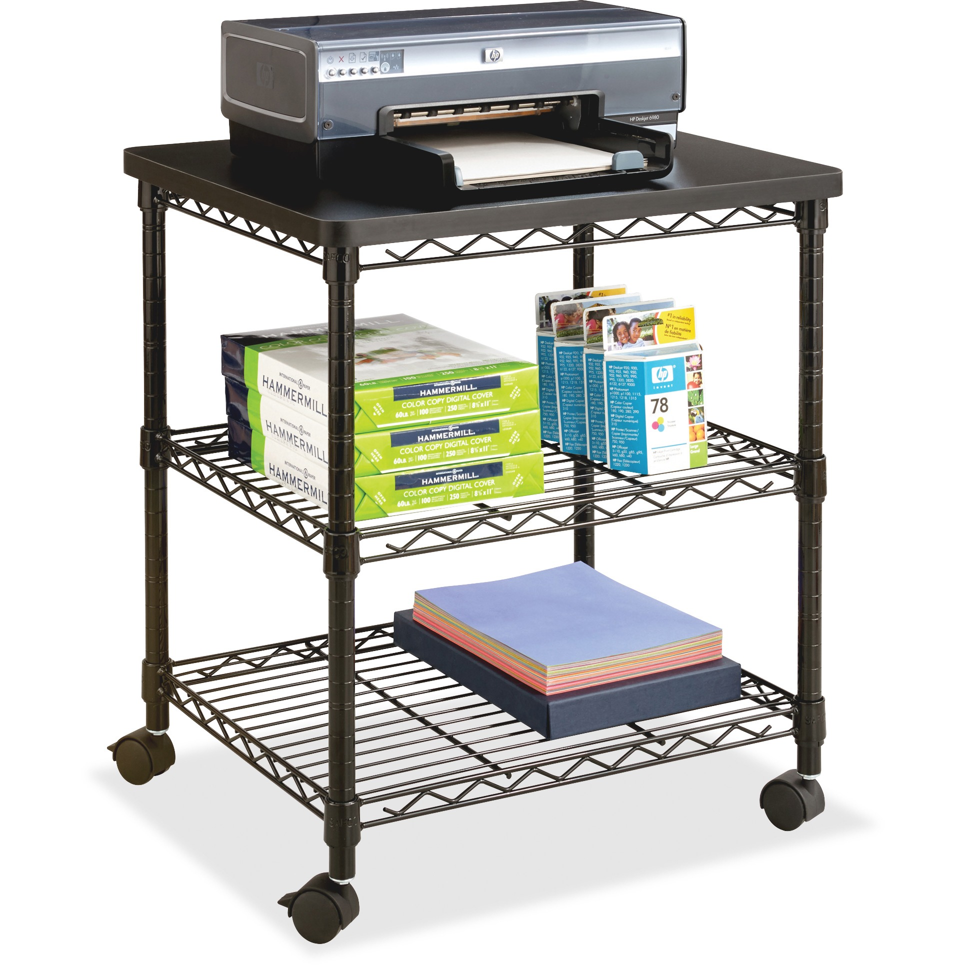 Safco Deskside Wire Machine Stand, Black
