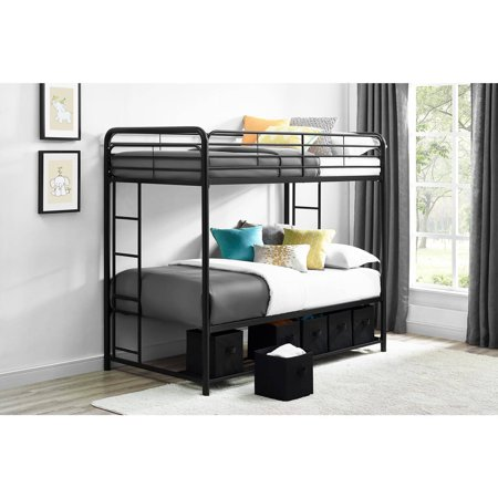 Mainstays Twin Over Twin Metal Bunk Bed With Storage Bins Black