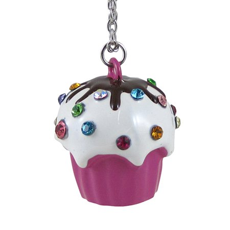 Cupcake Long Chain Necklace Large Pendant Pink - Cupcake Jewelry