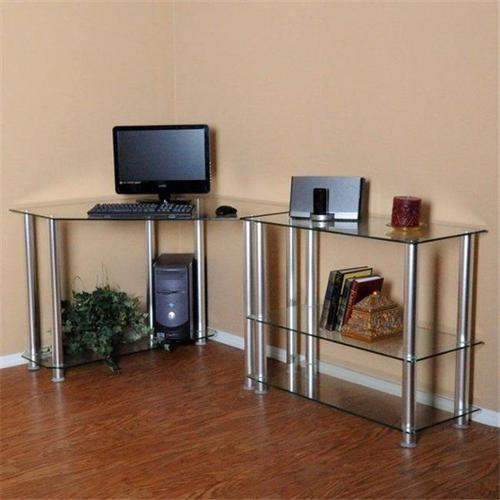 RTA Home and Office CT-013102 Clear Tempered Glass Corner Computer Desk with Right Extention table