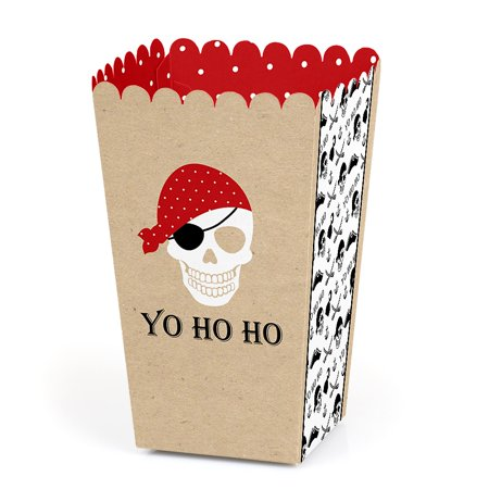 Beware of Pirates - Pirate Birthday Party Popcorn Favor Boxes - Set of 12 - Pirate Birthday Party