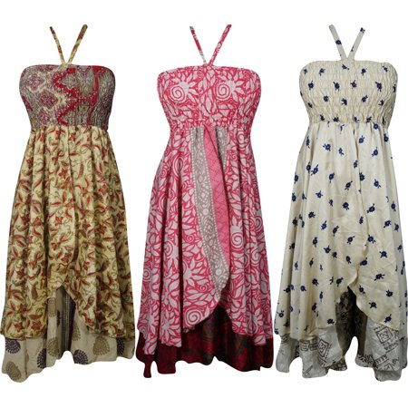 Mogul Womens Silk Sari Halter Dress Recycled Vintage Two Layer Printed Evening Sundress Wholesale Lot Of 3 Pcs