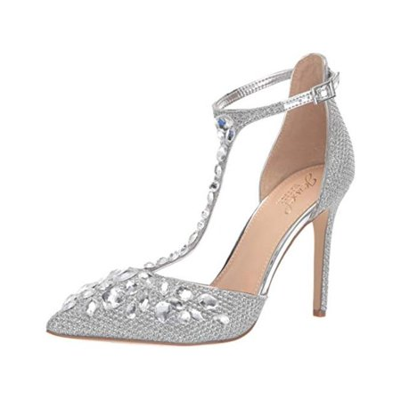 Jewel Badgley Mischka Women's UMAY Shoe, Silver Fabric,, Silver Fabric, Size 8.0